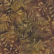 Moda Color Daze Batiks by Laundry Basket Quilts - 4484 - Green & Brown Grass/Leaf Print Batik - 42240 22 - Cotton Fabric